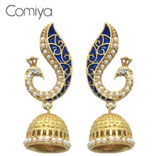 Comiya Gold Pearl Blue Peacock Drop Earrings For Women Mosaic Brincos De Festa Indian Jewelry Pendientes Largos Joias Aliexpress(China)