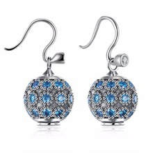 HOT wholesale Europe genuine 925 sterling silver earrings Fine 925 jewelry jewelry Crystals from Swarovski earrings for woman(China)