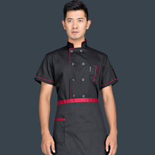 Short-sleeved Chef Service Hotel Working Wear Restaurant Work Clothes Tooling Cook Tops Men Chef Uniform Hotel Working Wear 89