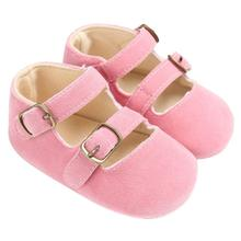 Summer Buckle Strap New ARRIVAL Solid  PU Leather & Flock Pink Black Baby Shoes First Walker toddler boy shoes #5465