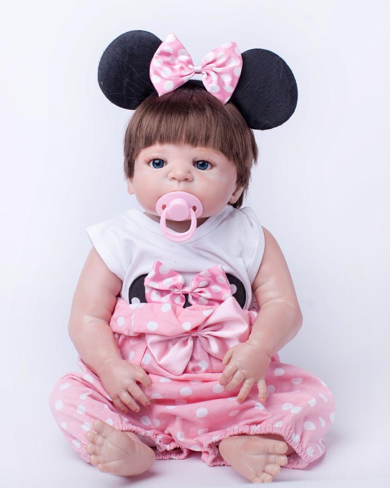 55cm Full Body Silicone Reborn Baby Doll Toys Play House Bathe Toy Newborn Girl Babies Dolls Kids Child Birthday Girl Brinquedos<br><br>Aliexpress