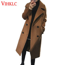Oversized Wool Coat With Quilting Winter Warm Trench coats abrigos mujer Black Camel Long Thick Women Wool Coats Plus Size D264