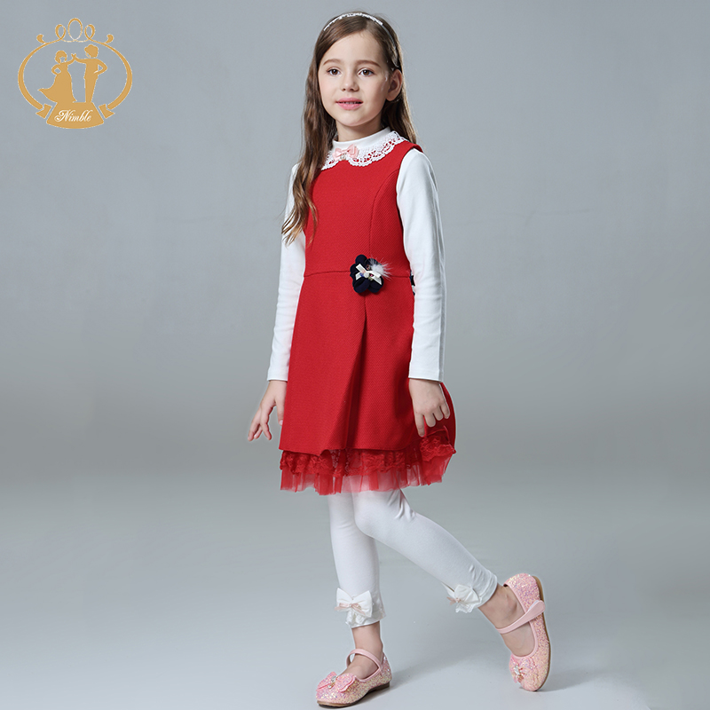 Nimble Girls clothes Handmade Flowers Beaded Pearls clothes Elegant Lace clothes for girl vestidos moana roupas infantis menina <br>
