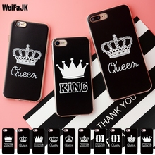 WeiFaJK Valentine Soft Phone Case for iPhone 5 5s 6 6s Queen KING Patterned Girl TPU Silicone Cover for iPhone 7 8 Plus Case(China)