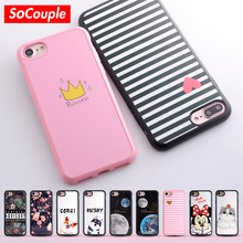 SoCouple TPU Phone case for iphone X 5s 5 SE 6 6s 8 6/7/8 plus Smooth Case Cat Cactus Plants Pattern Silicone case for iphone 7(China)