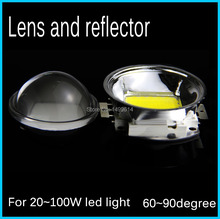5pcs Led Lens 44mm Convex Optical Glass +50mm Base Plus Reflector Collimator Set 60degree for High power 30W 50W 70W 100W
