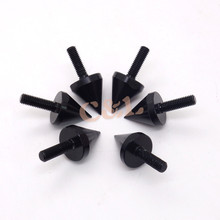 6 Pcs Black Motorcycle Aluminum Spike Bolts For Windscreen Fairings License Plate
