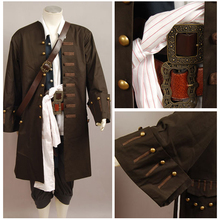 Pirates Of The Caribbean Jack Sparrow Jacket Vest Belt Shirt Pants Halloween Cosplay Costume Set For Adult Men(China)