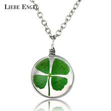 LIEBE ENGEL Hot Sale Fashion Jewelry Round Crystal Glass Clover Wish Pendant Silver Long Chain Dried Flower Necklace for Women