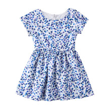 Kids Baby Girls clothes short sleeve round neck Geometry zipper cotton Princess Short Sleeve Polka Dot Mini Dresses one pieces(China)