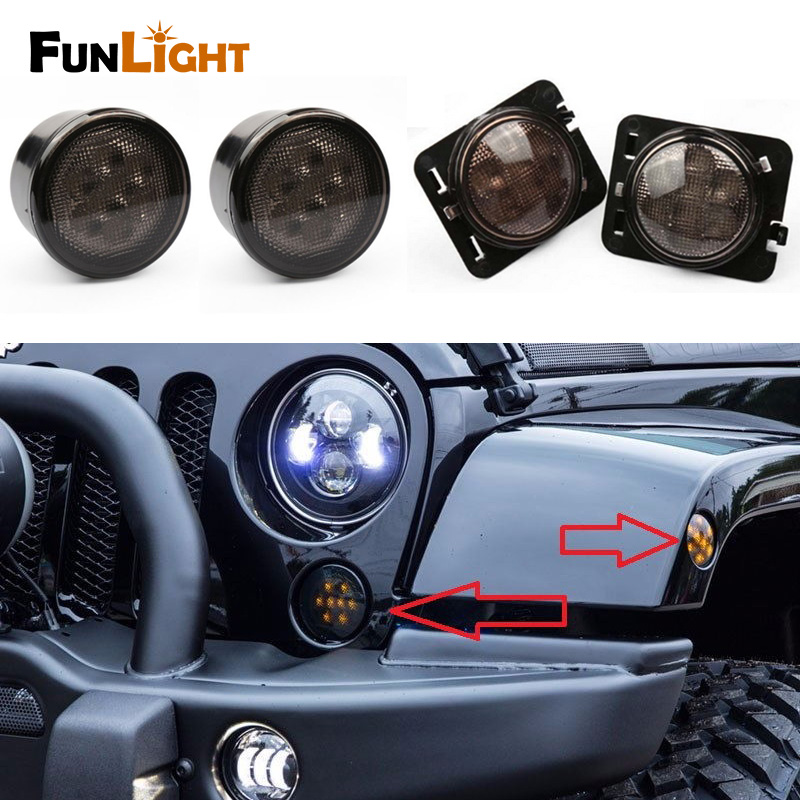 4pcs Black LED Amber Light Front Fender Flares Side Marker Turn Signal Light LED Side Marker Lamp For Jeep Wrangler JK 2007~2015<br>
