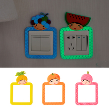 Cute fruit shape luminous switch stickers Fluorescent socket protective cover for living room bedroom kitchen wall decoration(China)