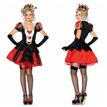 European Nobility Princess Dresses Halloween Sexy Poker Queen Cosplay Costumes Lace Stand Collar Red Heart Printing Ball Gown