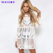 SORCHIDF Sexy Lace Dress For Women New Party Loose Mini Dress Full Sleeve Clothing Sun-protective Beach Smock Dresses Summer