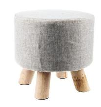 Fashion chair Upholstered Footstool Round Pouffe Stool + Wooden Leg Pattern:Round Fabric:Grey(4 Legs)