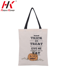 Halloween handbags for kids factory direct sale canvas color plain cotton type halloween festival gift tote bags free shipping
