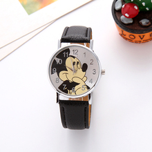 Creative children love Mickey mouse cartoon watch Preety boy girl fashion simple quartz women leather watches cutie kids clock