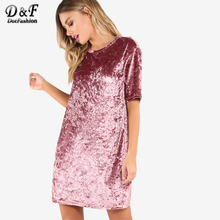 Dotfashion Crushed Velvet T-shirt Casual Dress 2017 New Woman Summer Pink Round Neck Dress Short Sleeve Shift Short Dress(China)
