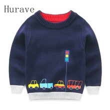 Hurave 2017 casual boys wear winter cotton knitting jacket sweater pattern car print sweater autumn sweater boys cardigan