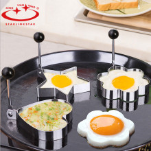 4pcs/lot Egg Mold Stainless Steel Round Flower Heart Shape Omelette Mould Biscuit Frying Egg Rings Mold Cooking Breakfast  Tools