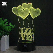 Heart-shaped Balloon 3D Lamp LOVE Romantic Night Light LED Decorative Table Lamp USB Colorful Color Change Girlfriend Gift