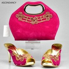Italian Matching Shoe and Bag Set Wine Color Heels Height 6 CM Decorated with Flower Women Pumps African Wedding Shoes and Bags