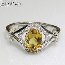 Simffvn Classic 6* 8mm Oval Cut Princess Natural Citrine Engagement Halo Ring 925 Sterling Silver Ring for Women Fine Jewelry