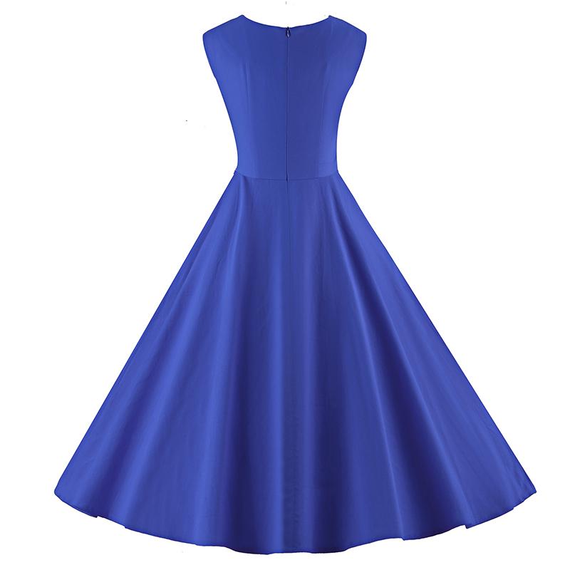 Kostlich 6 Color Retro Summer Dress Women 2017 Sleeveless Hepburn 50s Vintage Dress Elegant Big Swing Rockabilly Party Dresses (20)