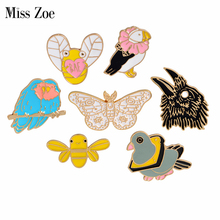 Enamel animal pins Parrot eagle butterfly bee pigeon birds brooch Denim Jacket Pin Buckle Shirt Badge Gift for kids