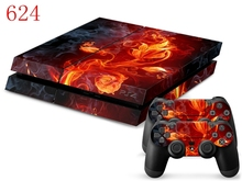 OSTSTICKER Fire works For PS4 PVC Decal For Playstation 4 Console With Controller *Buy One Get Two Lightbar(China)