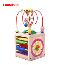 Wooden Bead Maze Multi-function Wooden Math Around Bead Maze Letters Recognition Abacus Clock Learning Educational Toy for Kids(China)