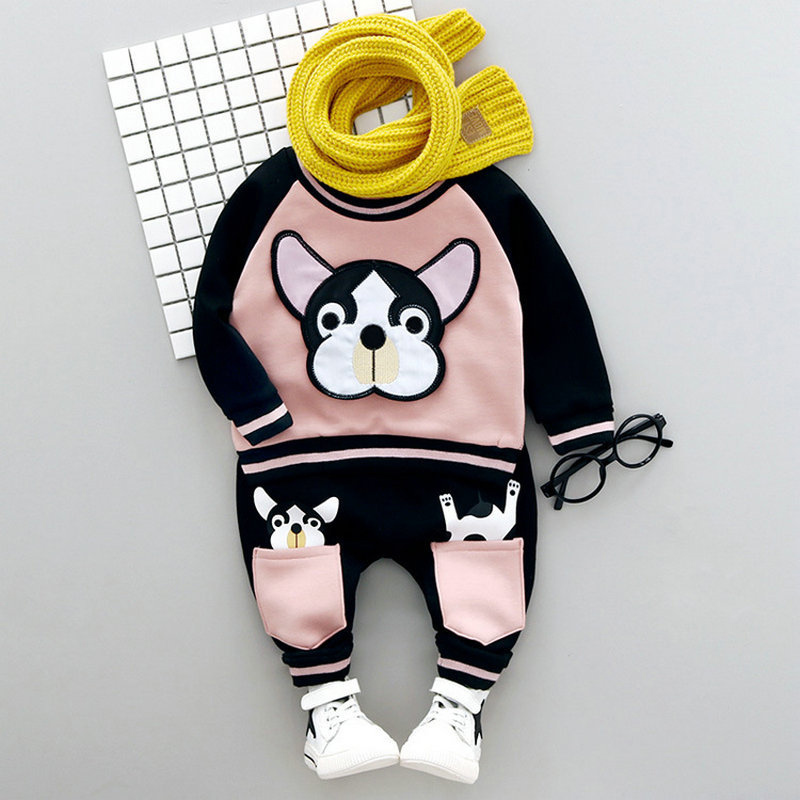 Spring Boys Sports Clothes Suit O Collar Cartoon Set of Long-sleeved Sweater T-shirt + Trousers Thick Warm Childrens Clothes<br>