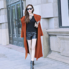 Manufacturers Selling The New Slim Knee length pure Wool Long Girl coat(China)