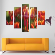 Fashion HD 4 Piece Canvas Painting Modern Style Wall Prints Poster Tulip Flowers Painting Living Room Art Pictures No Frame