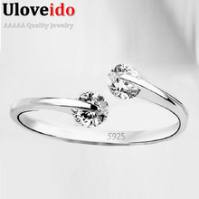CZ Diamond Jewelry Silver Rings For Women China Adjustable Fashionable Rings Rhinestones Vintage Bridal Jewellery 15% Off Y081