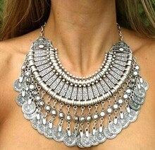 2014 wholesale fashion vintage tassle coin necklace 6 pcs/lot