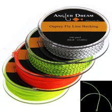 Two Pieces Backing Line 20LB/30LB 100Yds Braided Dacron Fly Fishing Backing Line Yellow Orange Black with 2 loop connectors(China)