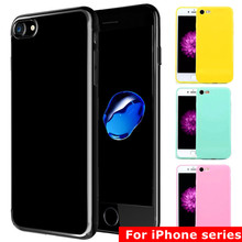 Fashion Candy Color Jelly Soft TPU Silicone Shockproof Case for iPhone 7 6S 6 Cell Phone Protective Cover For iphone 7 6 6s Plus