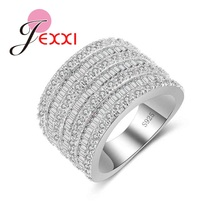 JEXXI Top Quality 925 Sterling Silver Jewelry Men Women Finger Ring Luxury Wide Wedding Ring Hot Ladies Christmas Gifts(China)