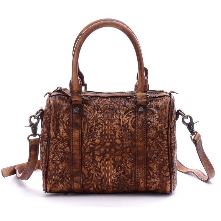 2016 Handmade Genuine Leather Women Prints Totes Bag Vintage Retro Shoulder Cross-body Messenger Bag Cowhide Female Handbag<br><br>Aliexpress