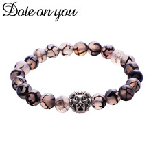 Natural Fused Rock Stone Lion Head Beads Bracelet High-quality Men's Women Fashion Jewelry Friends Couples Peace Jewelry Gifts(China)