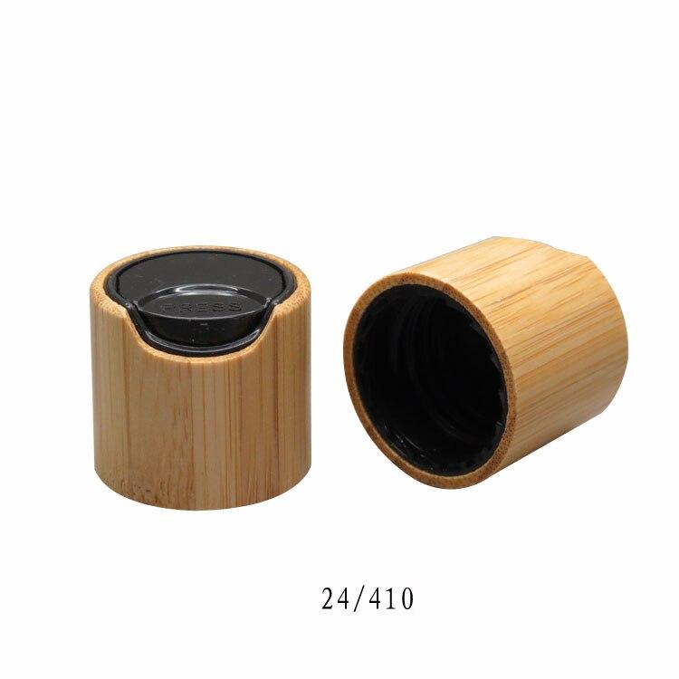 20/100pcs 24/410 bamboo black essential oil press pump cover essence liquid chiaki cap for lotion/mulsion bottle makeup disc lid<br>
