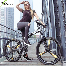 New brand carbon steel frame 26 inch 21/24/27 speed disc brake outdoor mountain bike folding bicicleta bicycle(China)