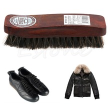 Professional Natural Bristle Horse Hair Shoe Shine Polish Buffing Brush Wooden