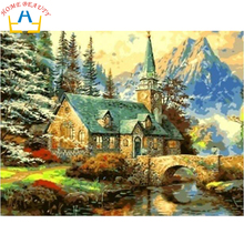 Digital Oil painting by numbers landscape wall decor picture on canvas oil paint coloring by number drawing river house 6005(China)