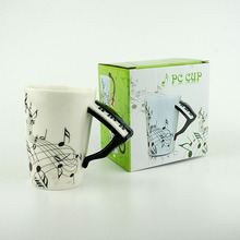 201-300ML Porcelain Tea Cup Creative Piano Music Notes Mug Ceramic Coffee Cup For Shop Market Music Stadio Promotion Gift(China)