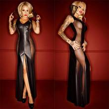 Women Gothic Black Leather Sexy Bodycon Party Dresses PVC Erotic Leotard Costumes Latex Bodysuit Catsuit Wet Look Long Dress(China)