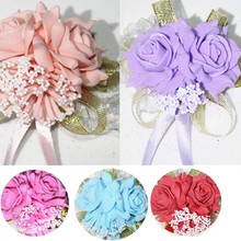 Wedding Artificial Rose 50pcs Church Wrist Flower Handmade Silk Anniversary Decor Boutonniere Prom Corsage Purple Pink