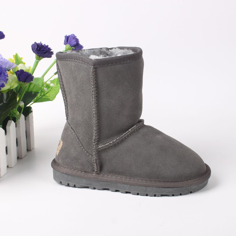 New Fashion Snow Boots Kids Winter Genuine Leather Boots For Girls Boys Plush Flat Shoes Children Boots With Fur Warm Botas 2017<br><br>Aliexpress