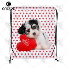 Red Dot Love Cute Maltese Lovely Dog Pet Print Custom individual Nylon Fabric Drawstring Shoes Storage Dust Bag Pack of 4()